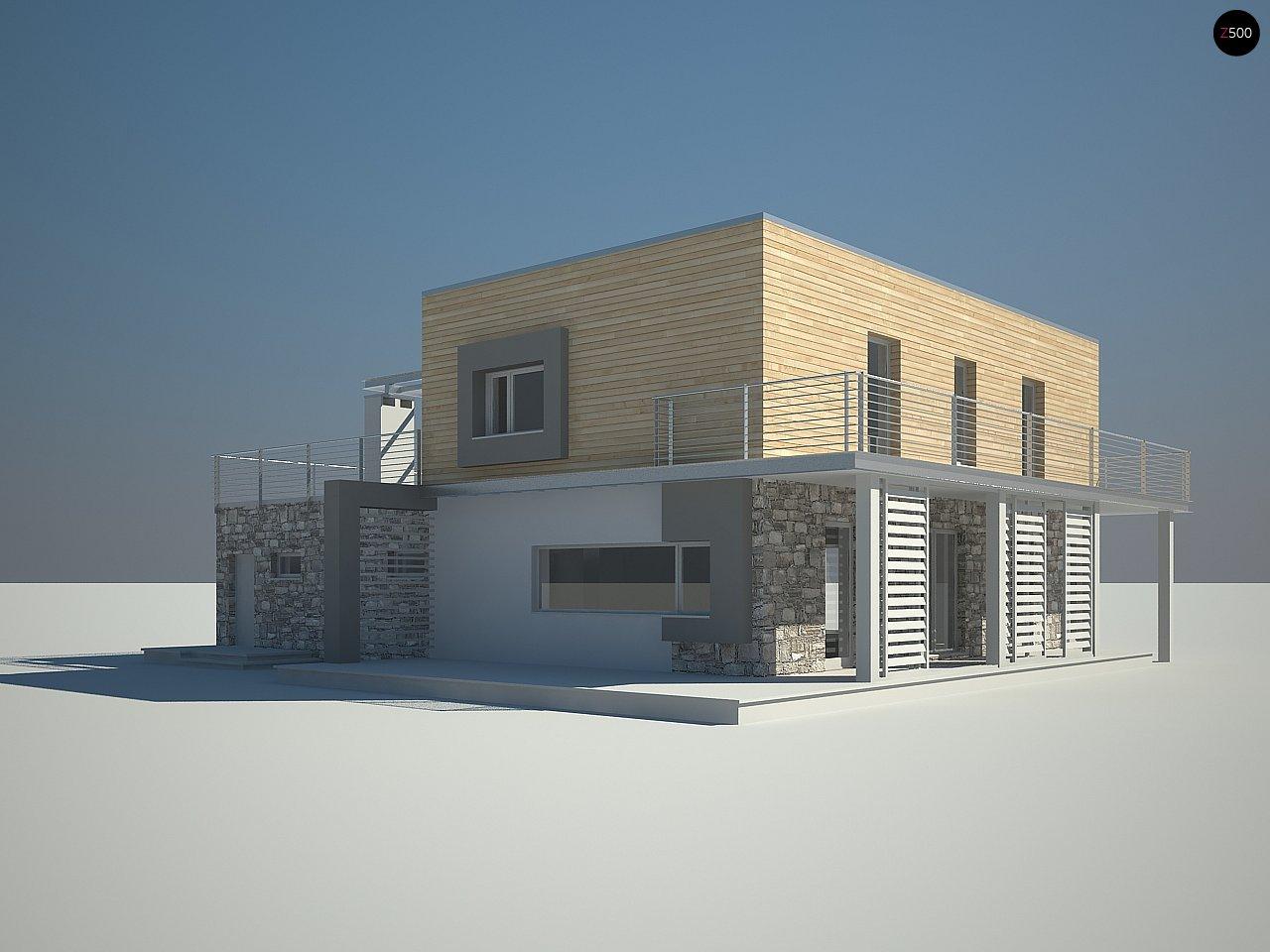 Оригинальный дом в современном стиле с обширной террасой над гаражом. - фото 4