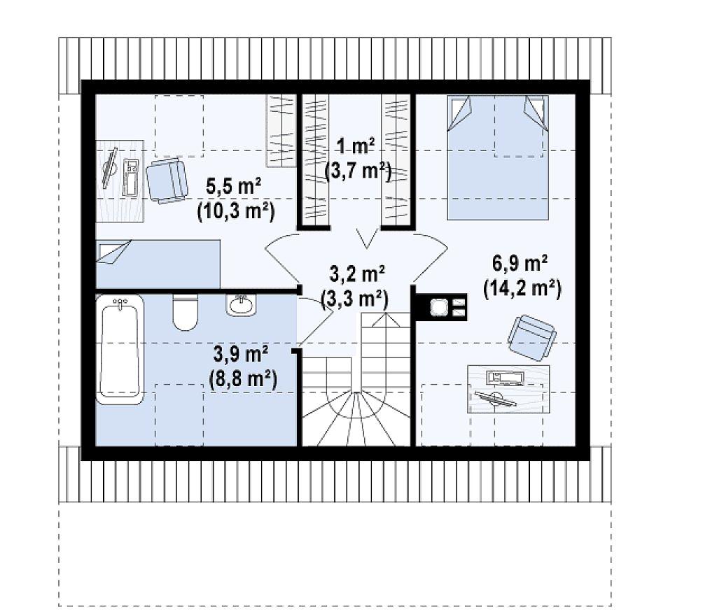 Маленький, уютный дом с мансардой, двускатной крышей и c фронтальной террасой. план помещений 2