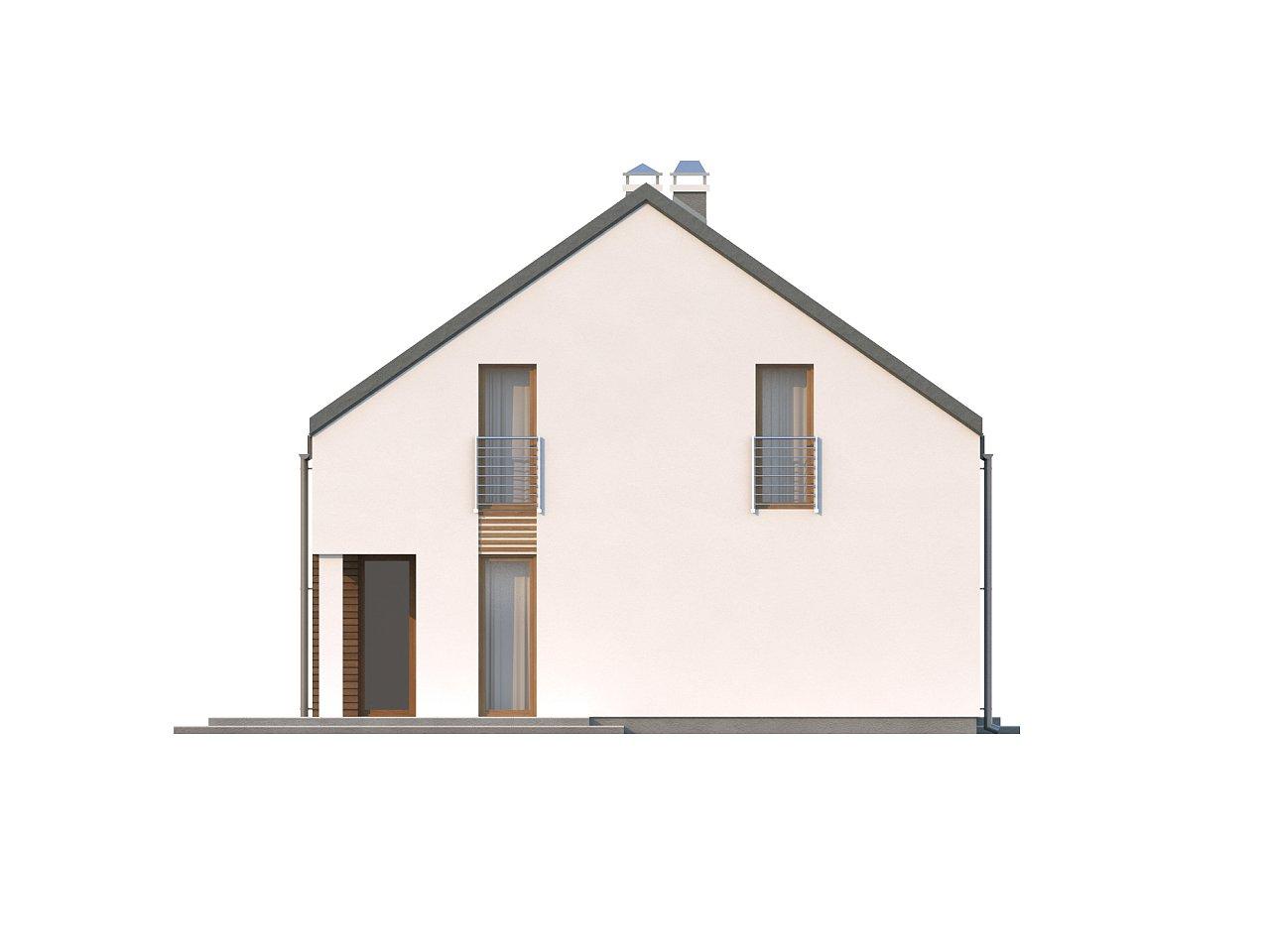 Аккуратный современный дом простой формы с оригинальной двускатной крышей. - фото 6