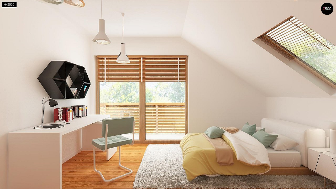 Проект аккуратного мансардного дома, с современным дизайном фасадов. 13