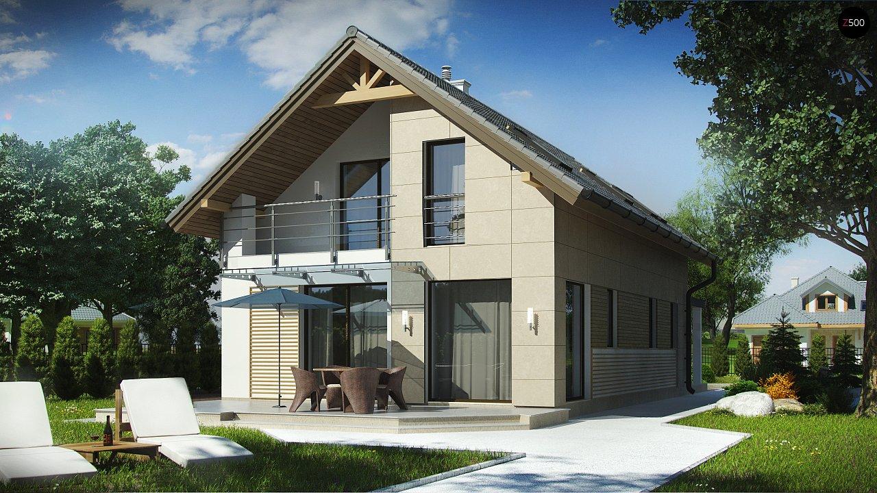 Дом простой формы с двускатной кровлей, с террасой над гаражом, также для узкого участка. - фото 2