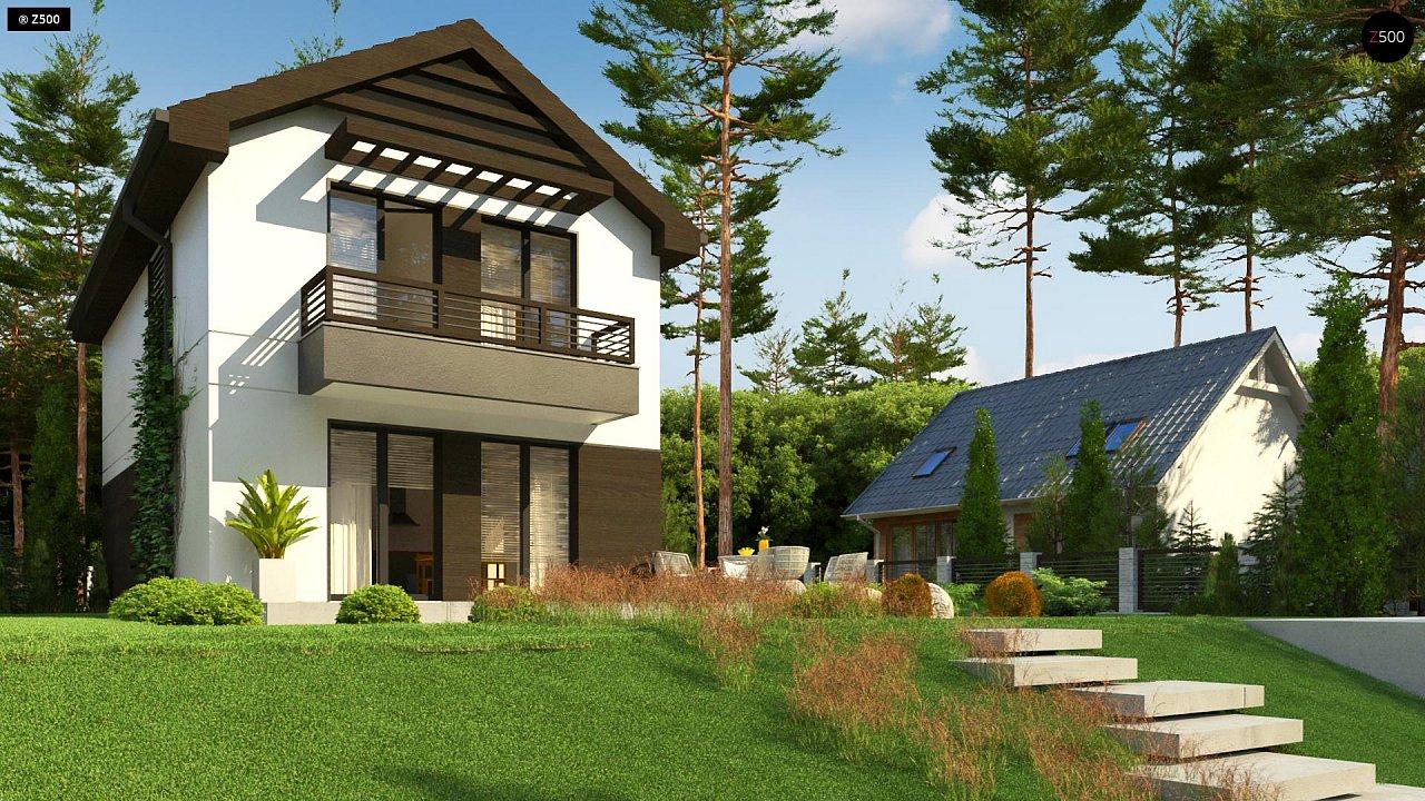 Проект двухэтажного дома в современном стиле, подойдет для строительства на узком участке. - фото 5