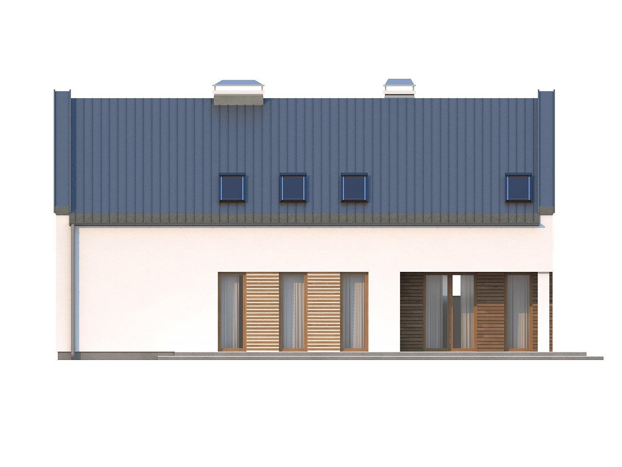 Аккуратный современный дом простой формы с оригинальной двускатной крышей. - фото 4
