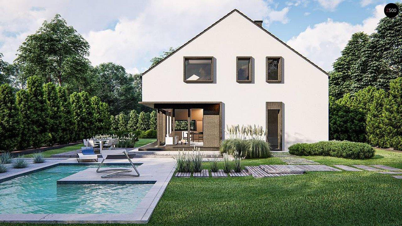 Современный дом с мансардой и двускатной крышей - фото 4