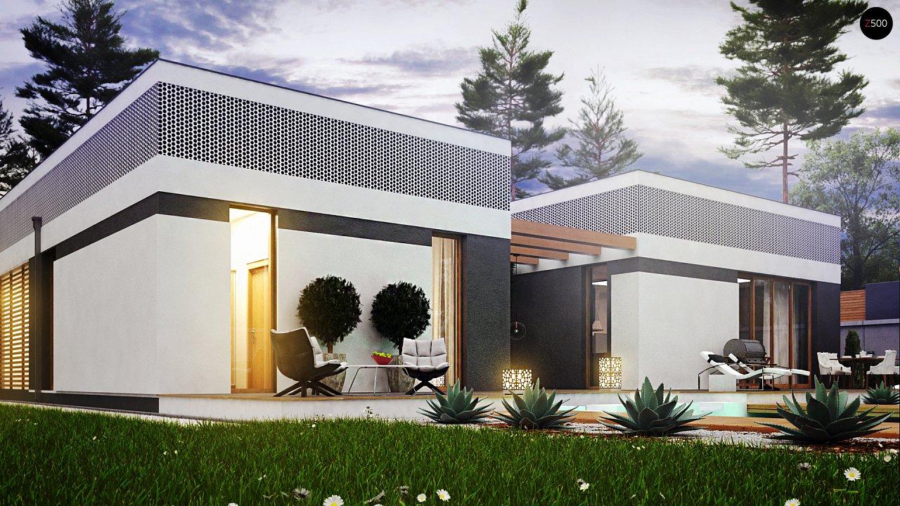 Проект дома в современном стиле с закрытой террасой - фото 1