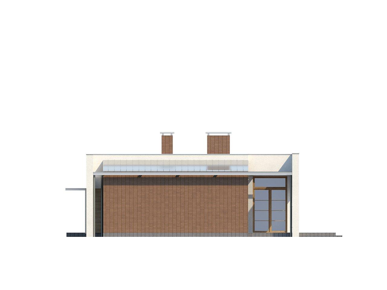 Одноэтажный дом с плоской крышей, со светлым функциональным интерьером и гаражом. 8