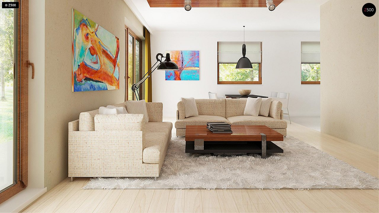 Функциональный традиционный дом с современными элементами в архитектуре, со встроенным гаражом. 4