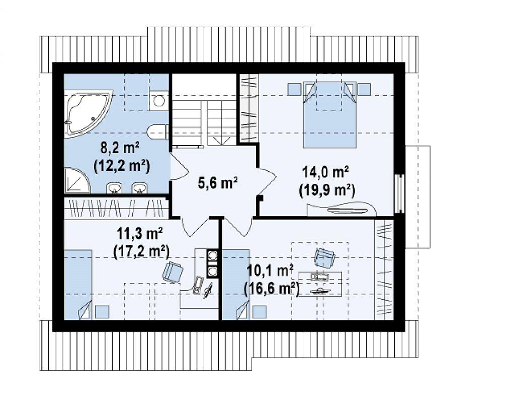 Функциональный дом с кабинетом на первом этаже, удобный для участка с южным въездом. план помещений 2
