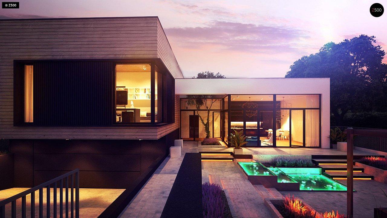 Проект современного дома с плоской кровлей и подземным гаражом. 3