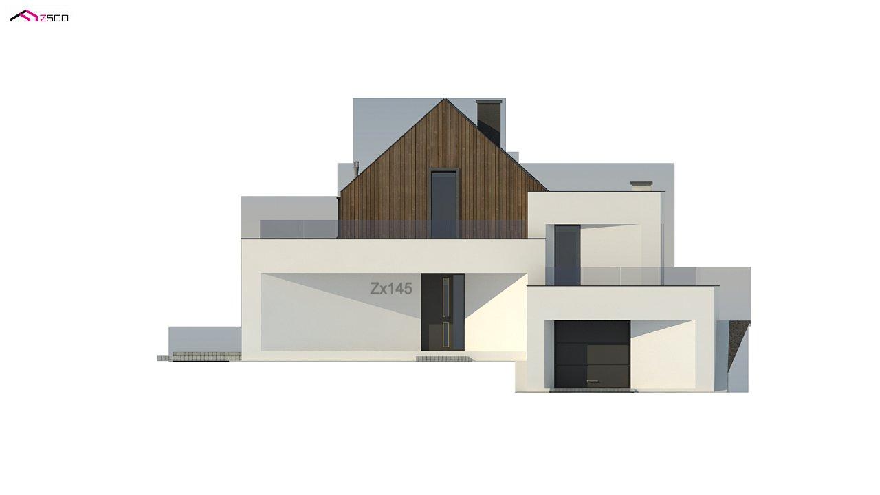 Проект современного коттеджа с цоколем и мансардой 7