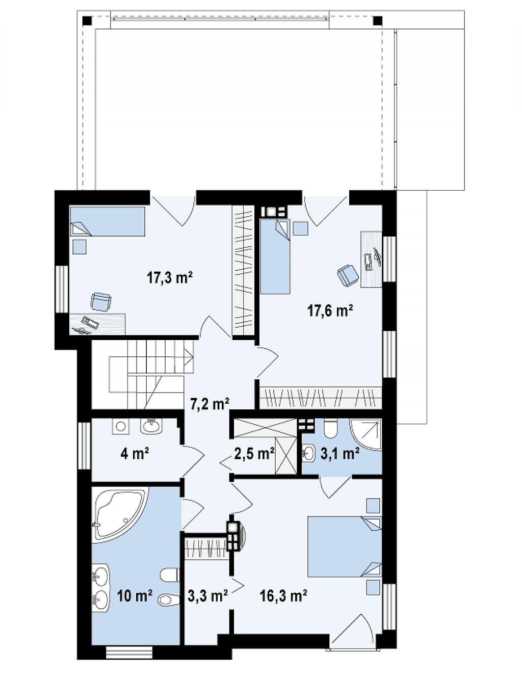 Дом характерного современного дизайна с гаражом и кабинетом на первом этаже. план помещений 2