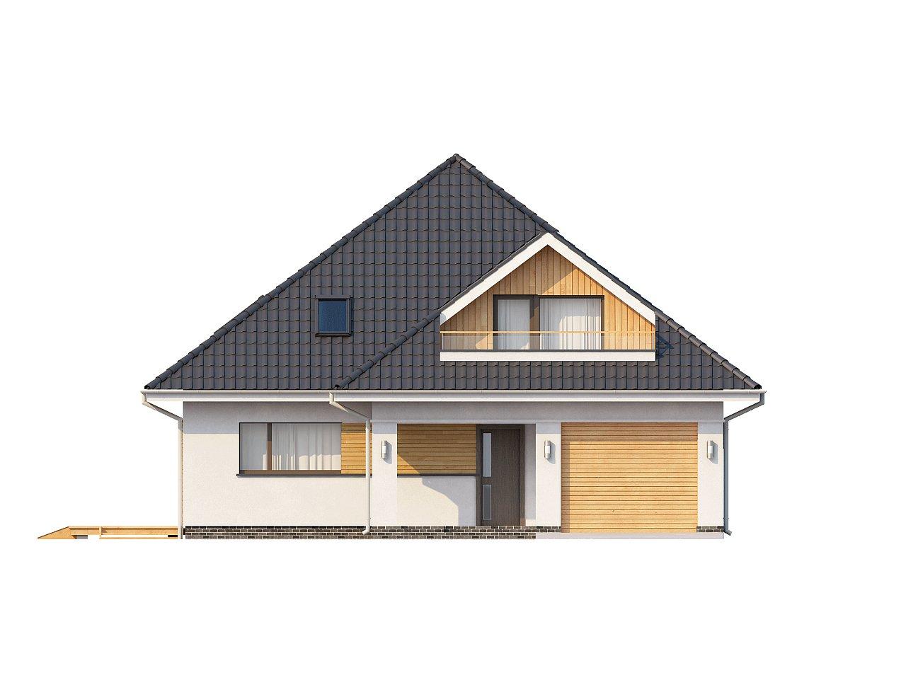 Красивый и функциональный дом с боковой террасой и необычным мансардным окном. 3