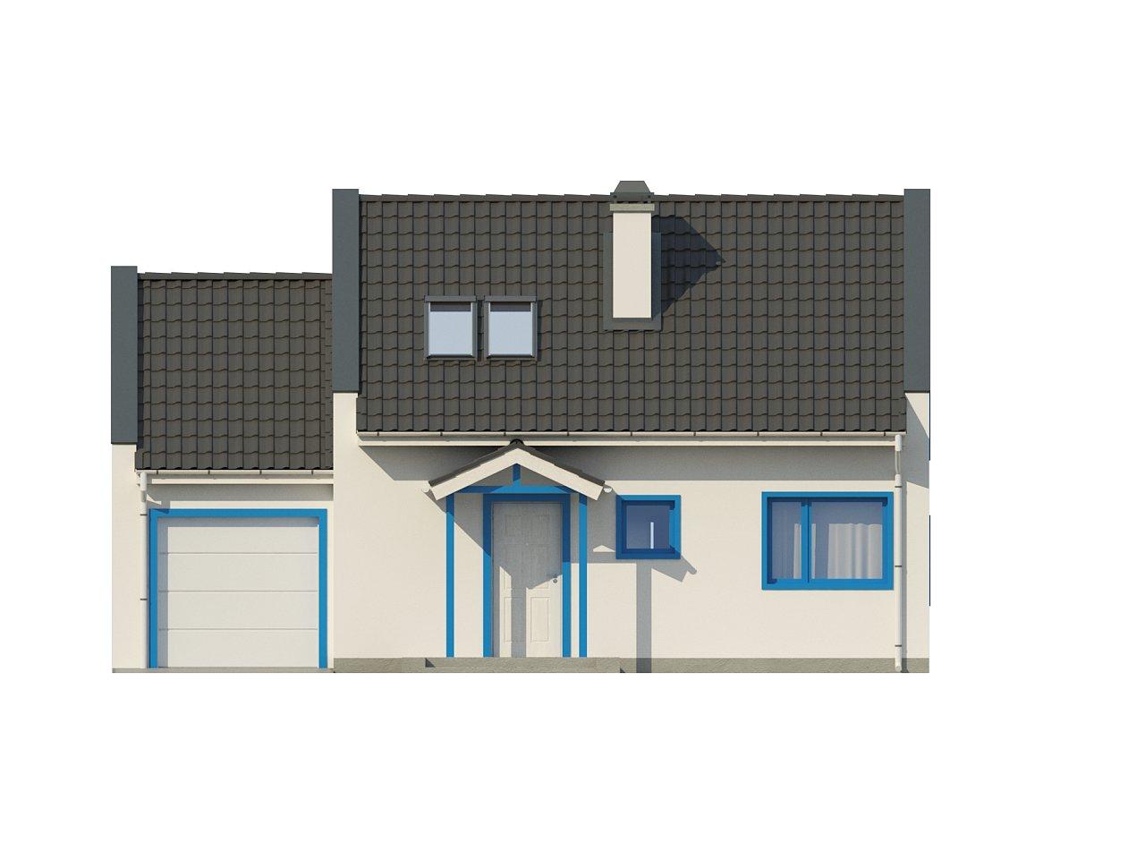 Компактный дом с гаражом для одной машины, с большими окнами в гостиной. 14