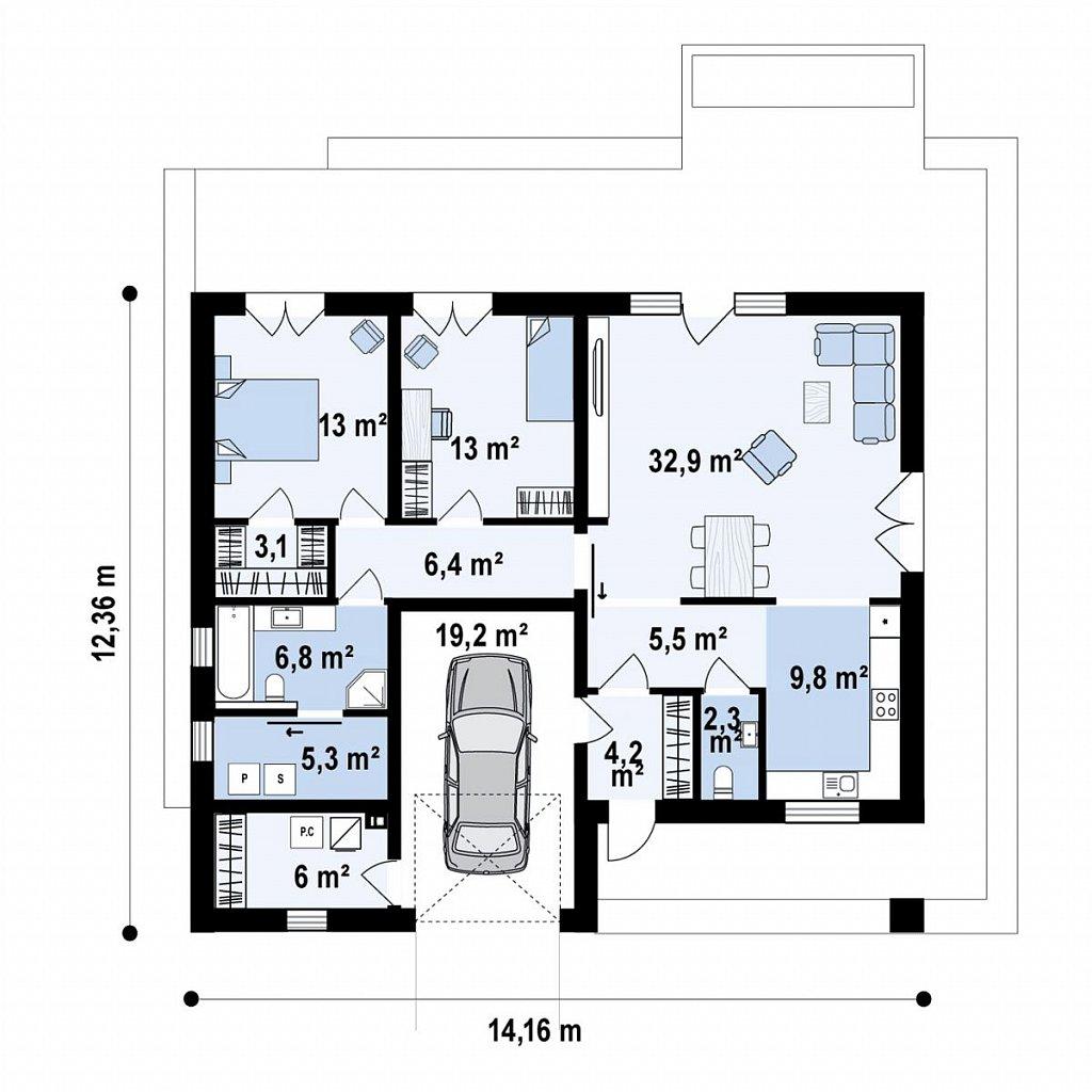 Функциональный одноэтажный дом с гаражом на одну машину, расположенный в центральной части переднего фасада. план помещений 1