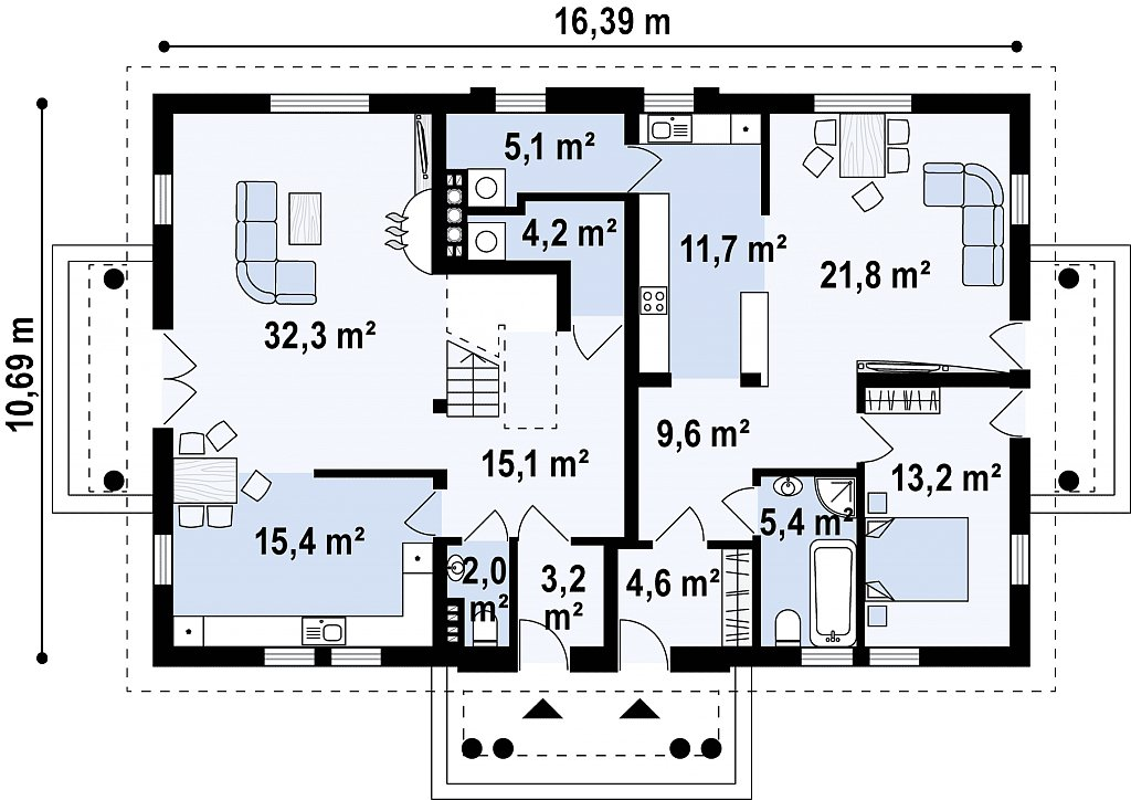 Проект двухсемейного дома в стиле дворянской усадьбы. план помещений 1