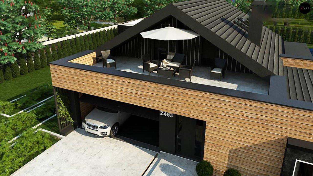 Современный мансардный проект дома с террасой и гаражом на две машины 6