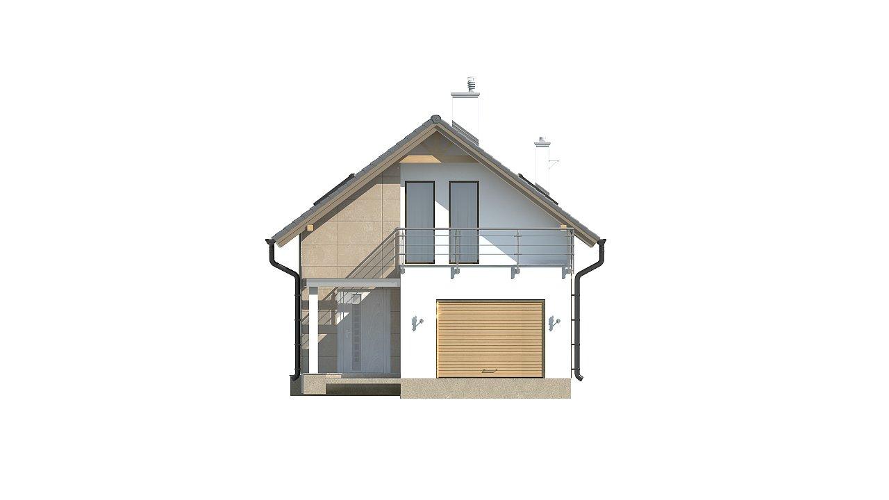 Дом простой формы с двускатной кровлей, с террасой над гаражом, также для узкого участка. - фото 3