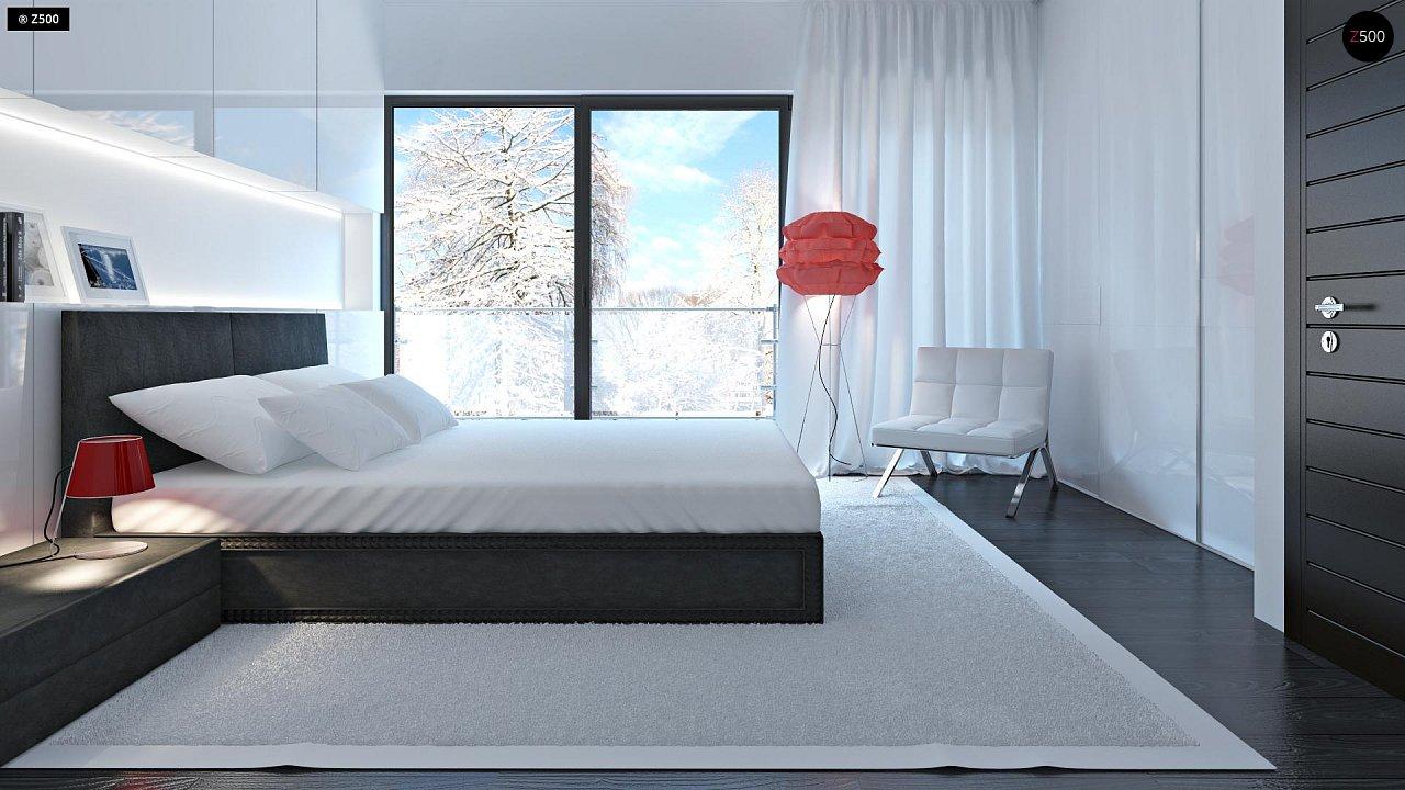 Проект просторного двухэтажного дома для симметричной застройки с террасой над гаражом. 10
