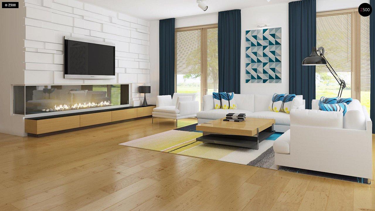 Современный функциональный дом с большой площадью остекления в гостиной. 3