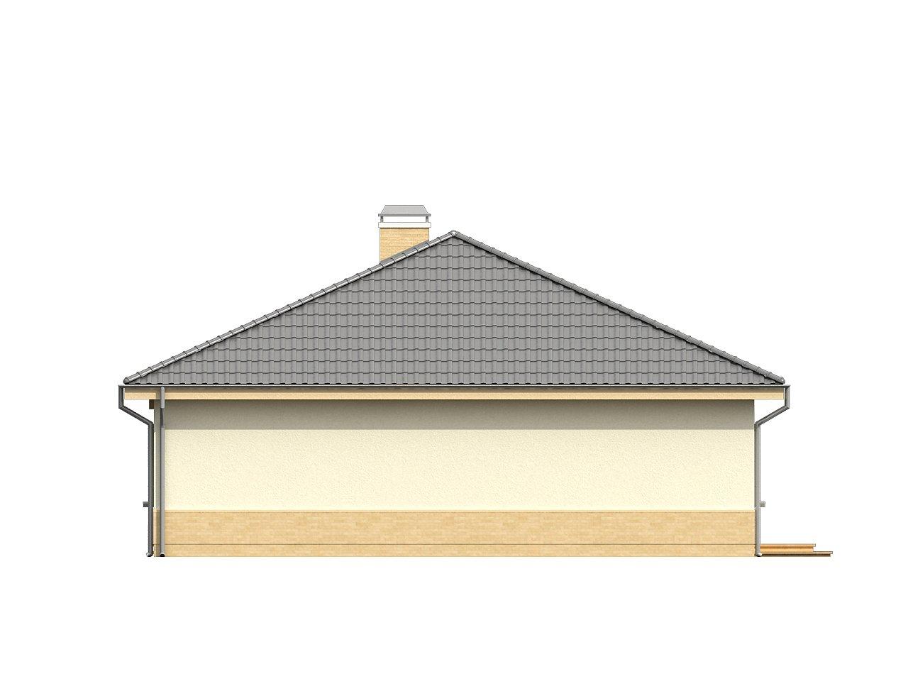 Практичный одноэтажный дом с 4-х скатной кровлей и угловым окном в кухне. 24