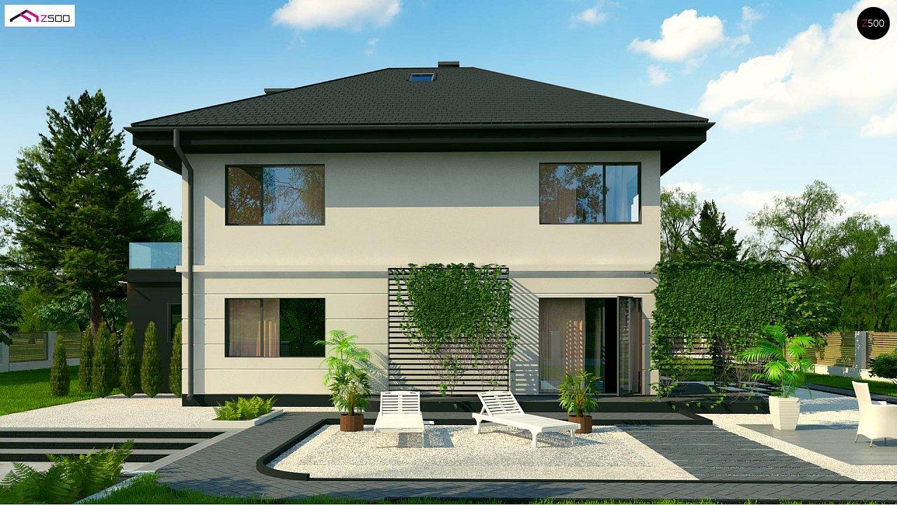 Просторный двухэтажный дом простой формы с террасой над гаражом. - фото 3