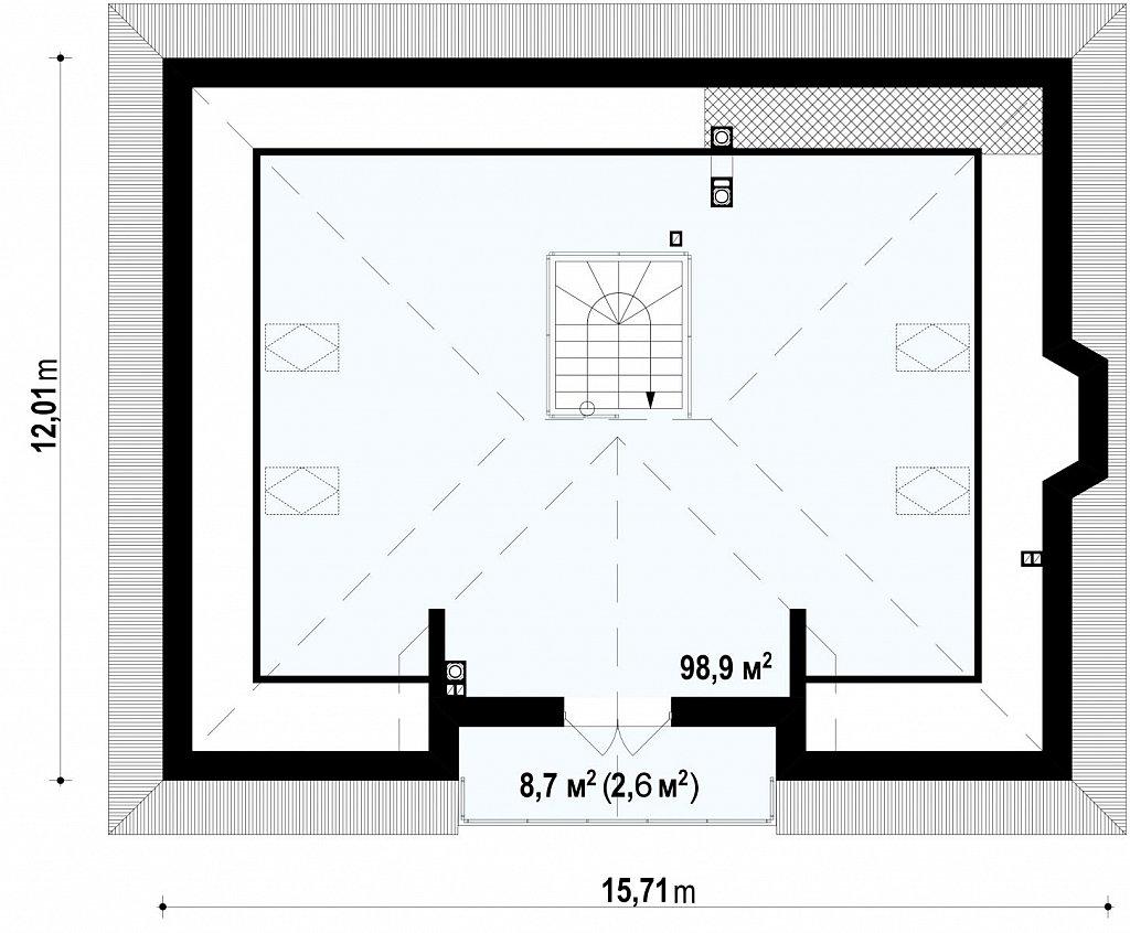 Комфортный дом с открытой мансардой в традиционном стиле (версия проекта Z10) план помещений 2