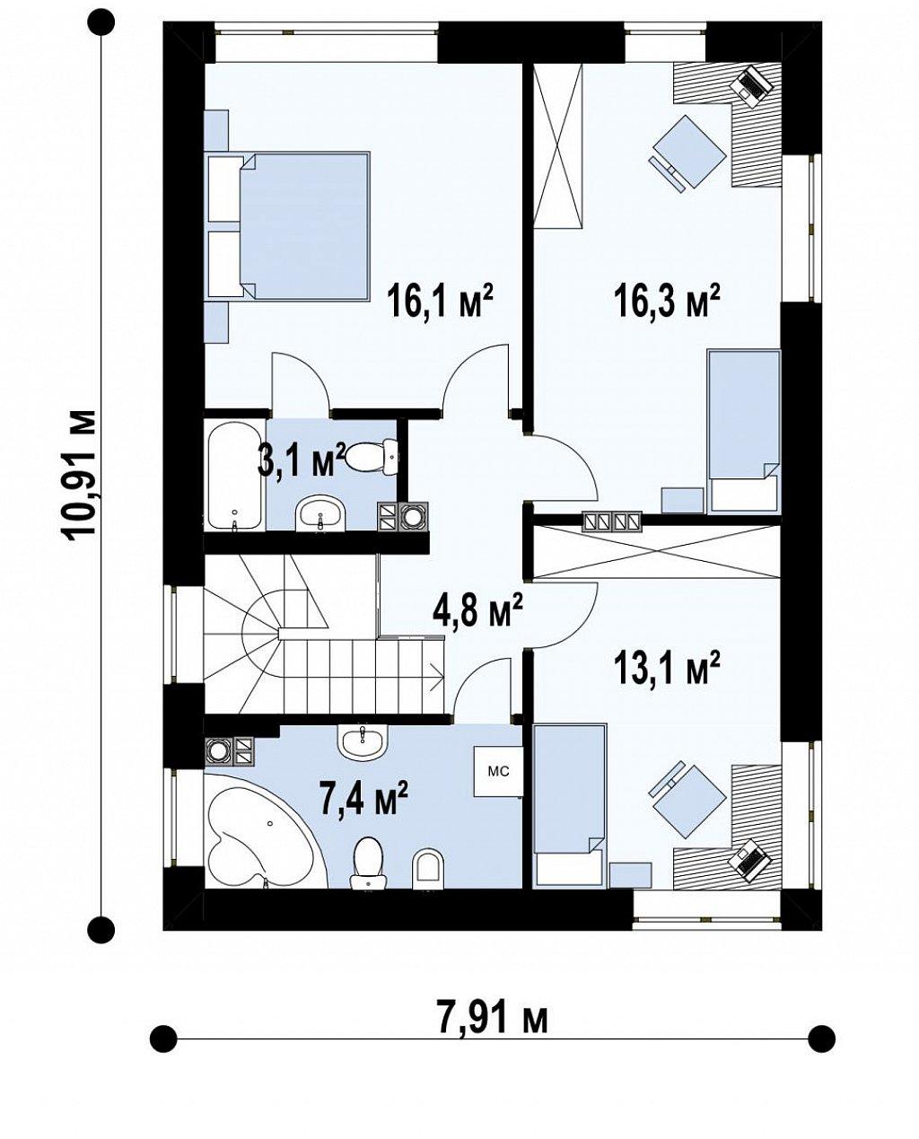 Компактный проект двухэтажного дома план помещений 2
