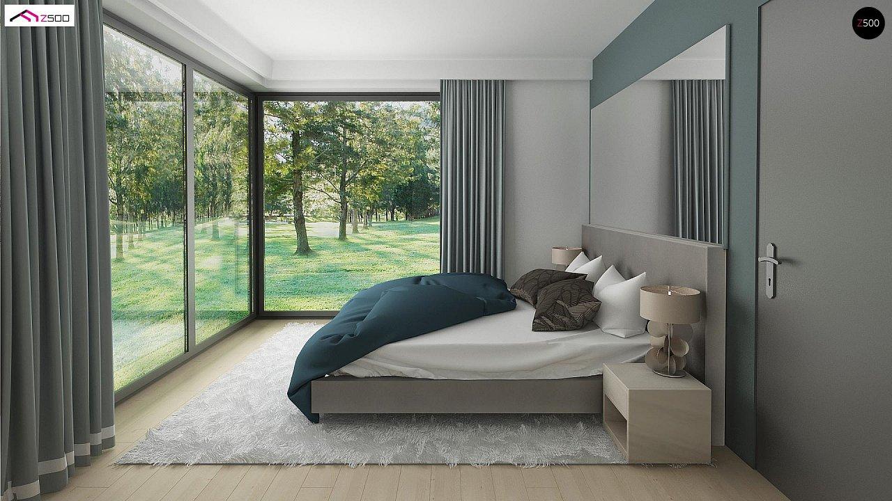 Проект одноэтажного дома Z390 с гаражом на 1 машину и красивым белым фасадом 16
