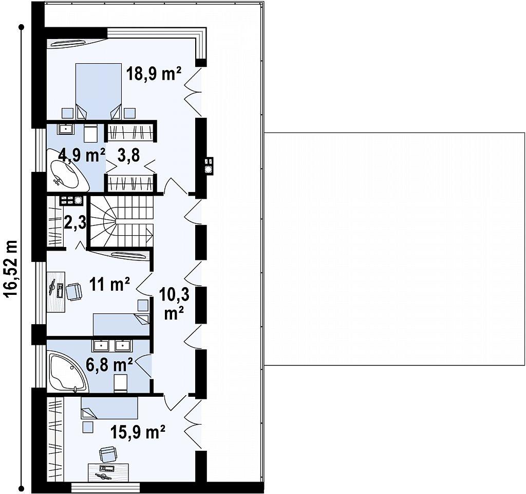 Стильный современный коттедж с плоской кровлей план помещений 2