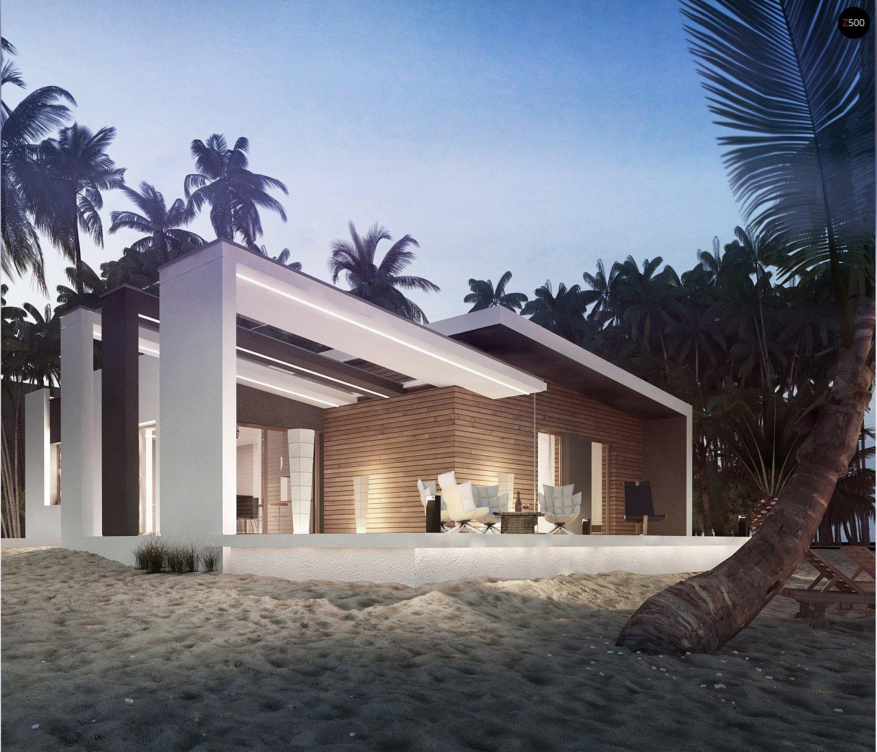 Проект современного дома в стиле хай-тек с двумя спальнями. - фото 2