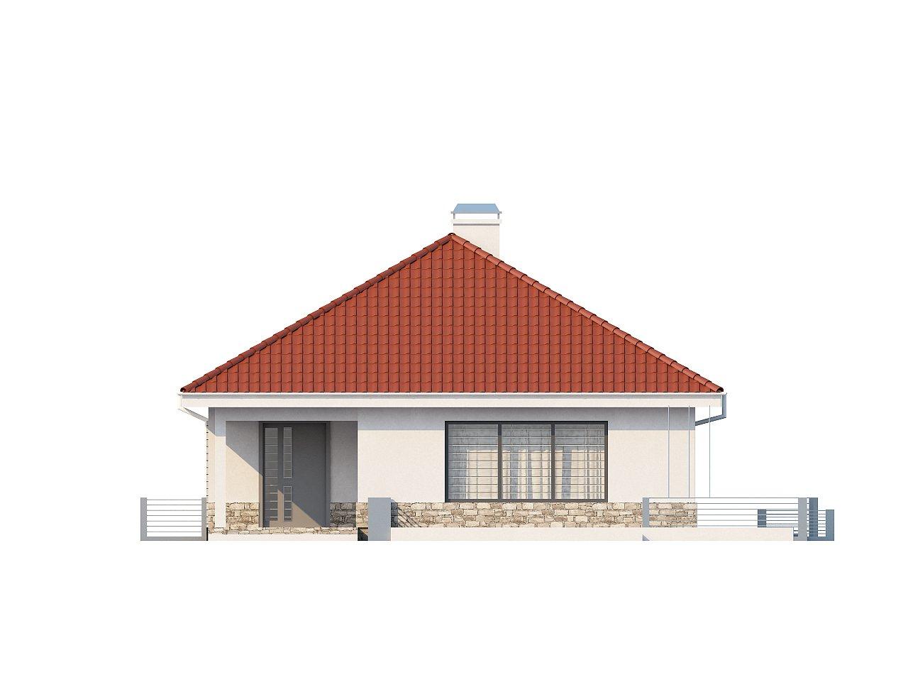 Проект компактного и функционального одноэтажного дома с фронтальным расположением дневной зоны. 3