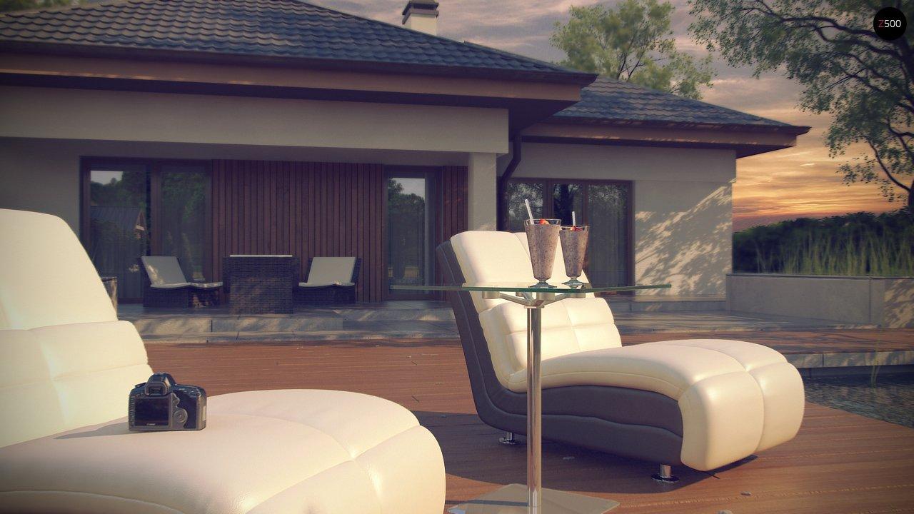Одноэтажный дом с многоскатной крышей, с удобным функциональным интерьером. 9