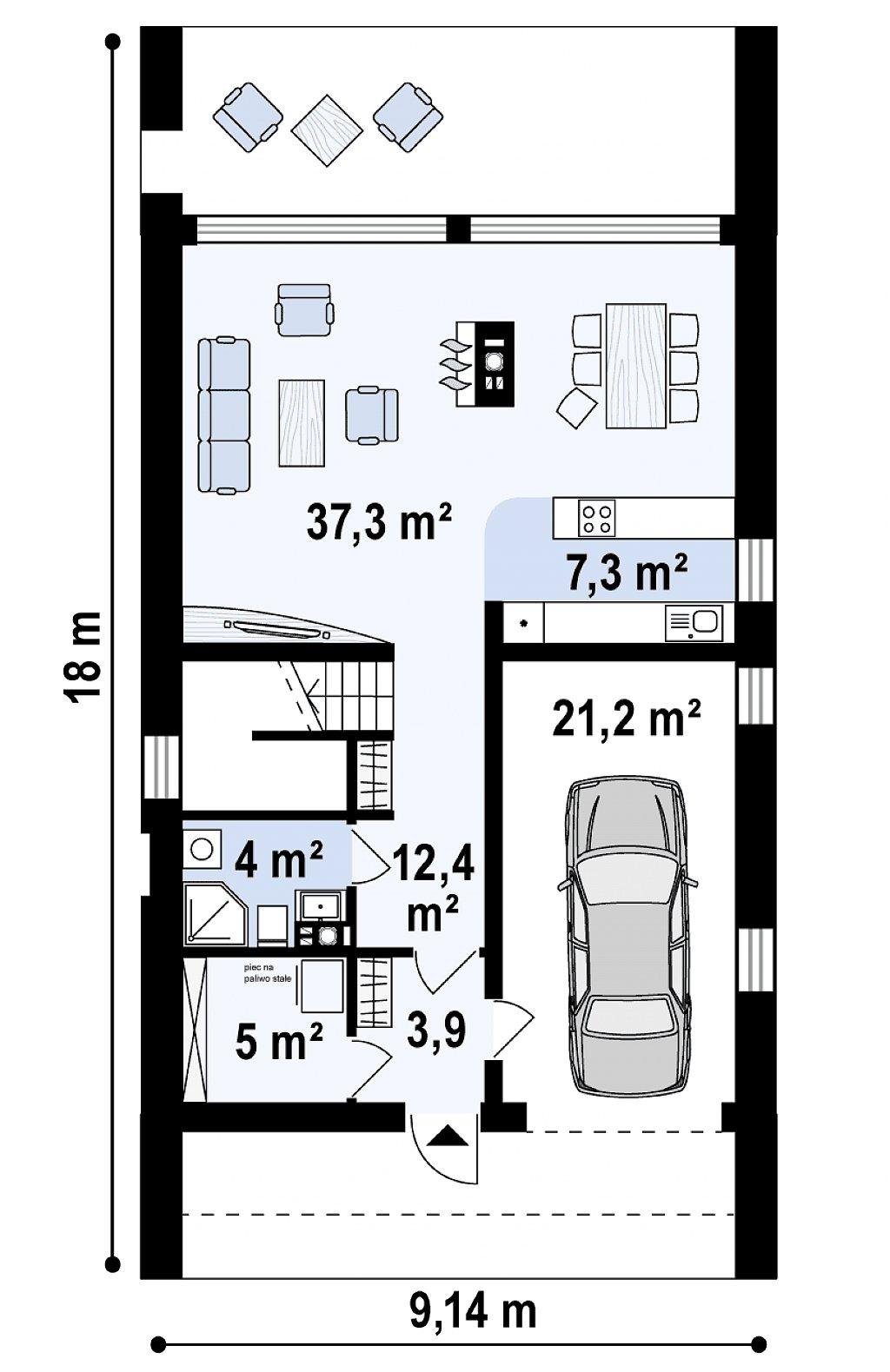 Мансардный дом со встроенным гаражом для одного автомобиля. план помещений 1