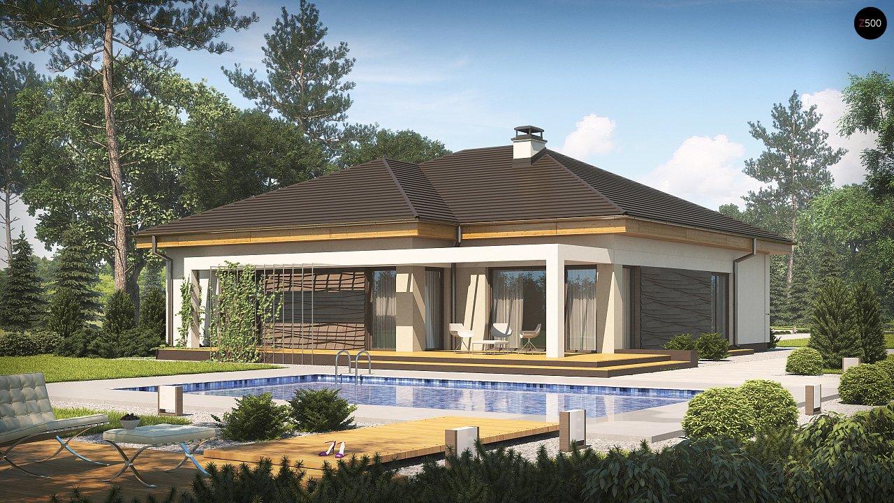 Проект одноэтажного дома с фронтальным выступающим гаражом и возможностью обустройства мансарды. 2