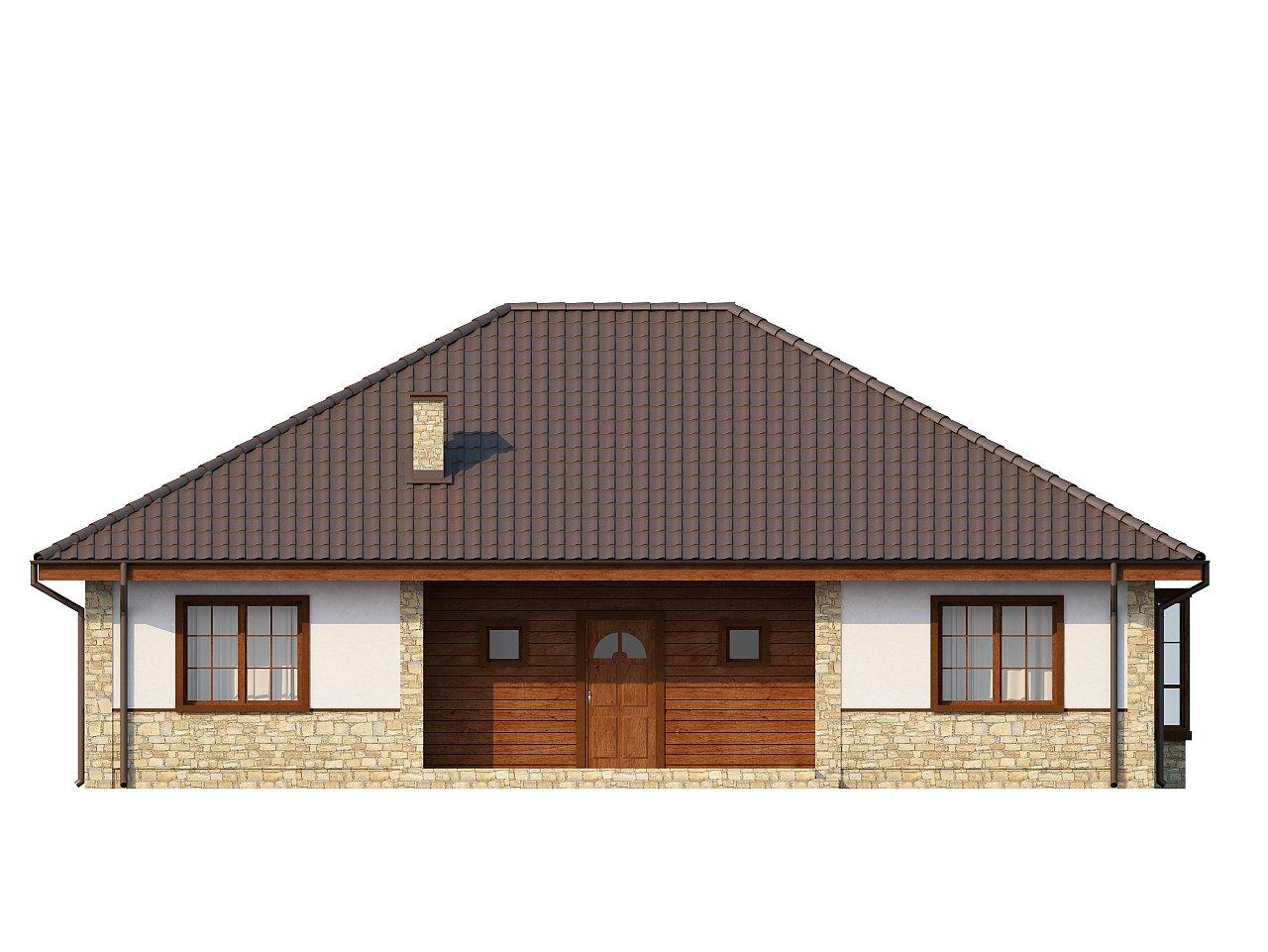 Одноэтажный дом с многоскатной кровлей, эркером и камином на террасе. - фото 21