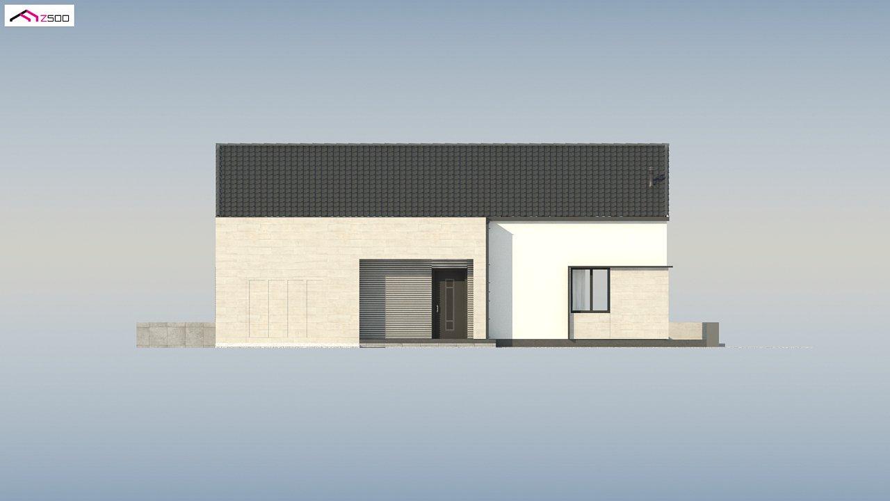 Проект одноэтажного дома Z390 с гаражом на 1 машину и красивым белым фасадом 18