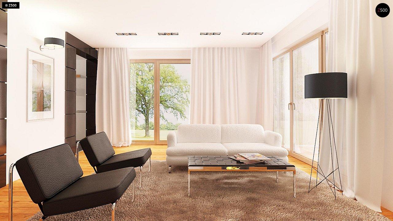 Проект аккуратного мансардного дома, с современным дизайном фасадов. 6