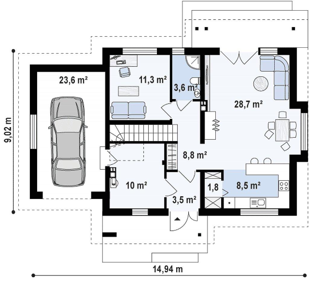 Версия проекта Z92 c гаражом, пристроенным слева и дополнительным помещением над ним план помещений 1