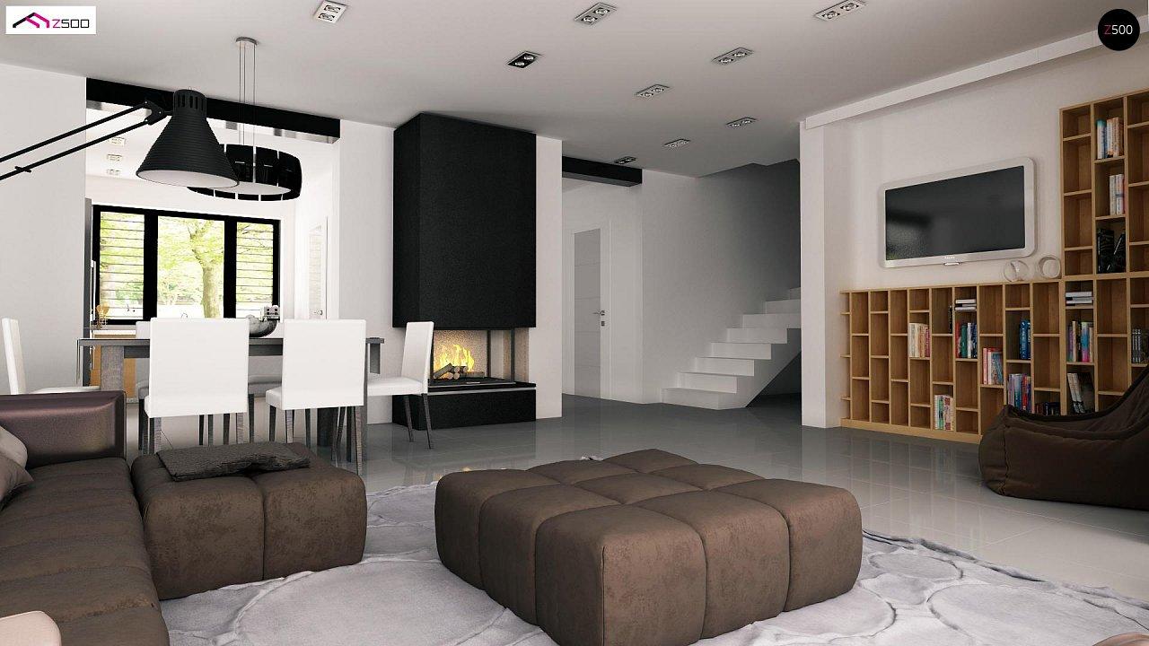 Проект дома с мансардой, с дополнительной спальней на первом этаже и с застекленной террасой. 8