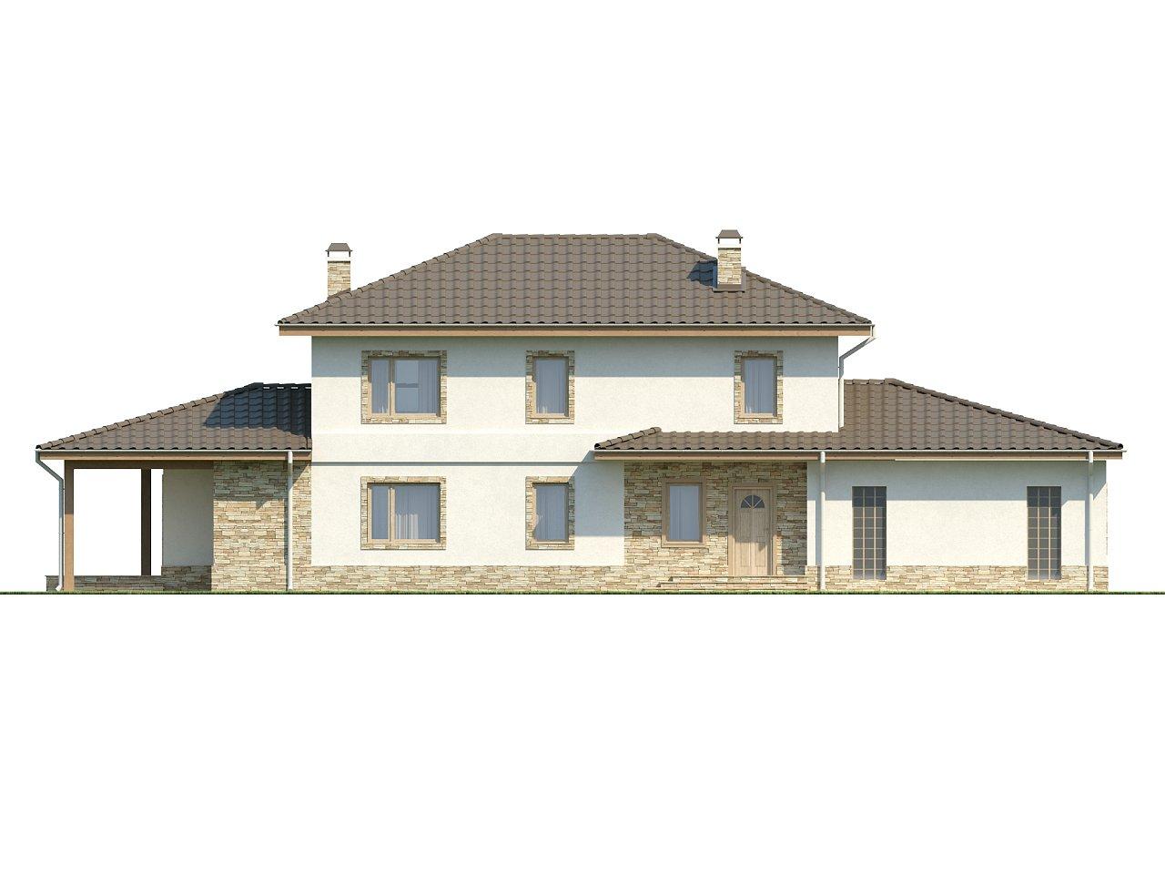 Просторная итальянская двухэтажная вилла с крытой боковой террасой и большим гаражом. - фото 4