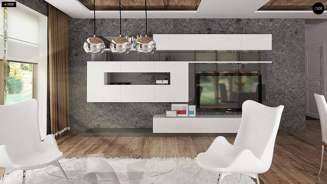 Проект комфортного дома с большим гаражом и дополнительной спальней на первом этаже. 4