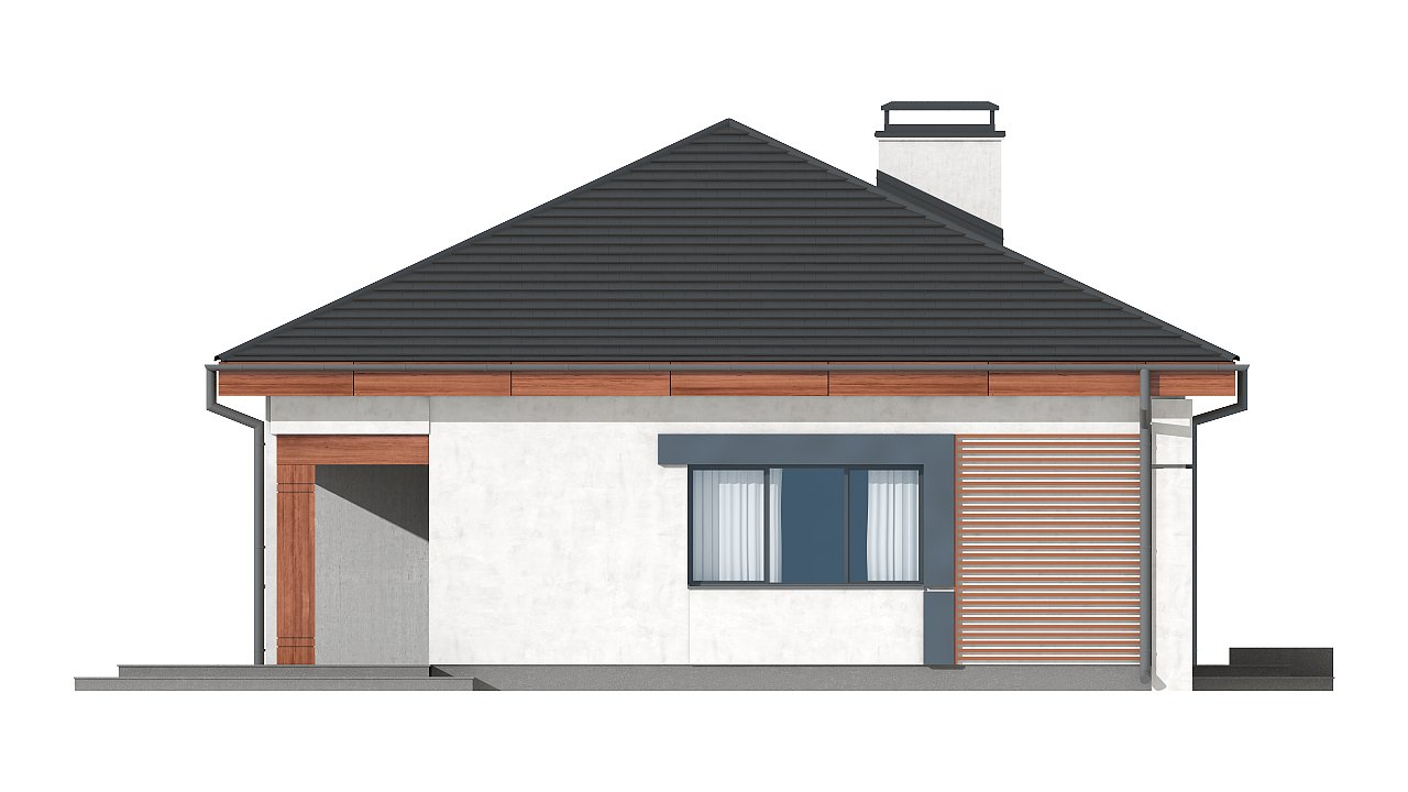 Проект стильного одноэтажного дома в классическом стиле. 23