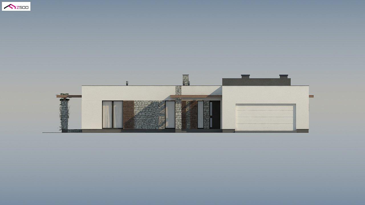 Современный одноэтажный дом с двойным гаражом и плоской крышей 7