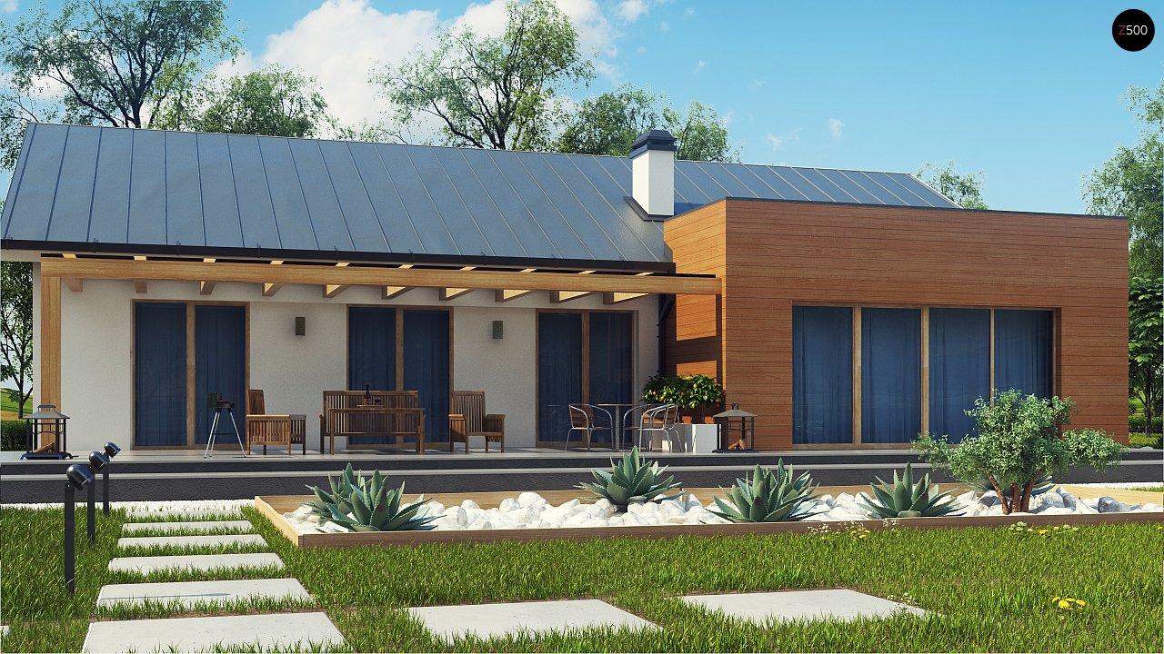 Комфортный функциональный одноэтажный дом простой формы и с гаражом для двух авто. 3