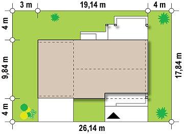 Версия проекта Z251 с пристроенным гаражом для двух автомобилей. план помещений 1