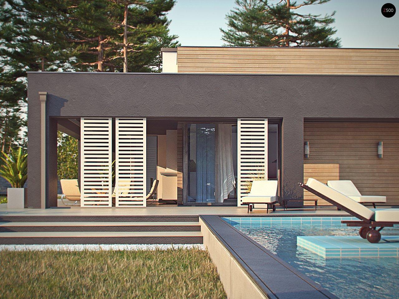 Одноэтажный дом в стиле хай-тек с плоской кровлей и большой площадью остекления. 9