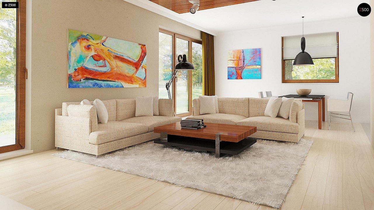 Функциональный традиционный дом с современными элементами в архитектуре, со встроенным гаражом. 3