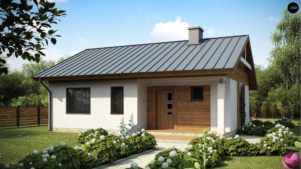 Аккуратный небольшой одноэтажный дом простой конструкции с кухней со стороны сада. 1