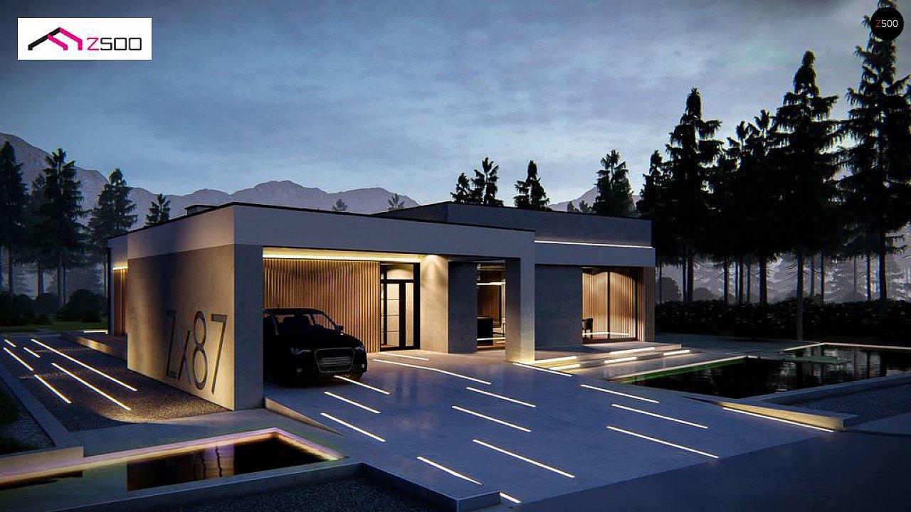 Современный одноэтажный дом с навесом для автомобиля 1