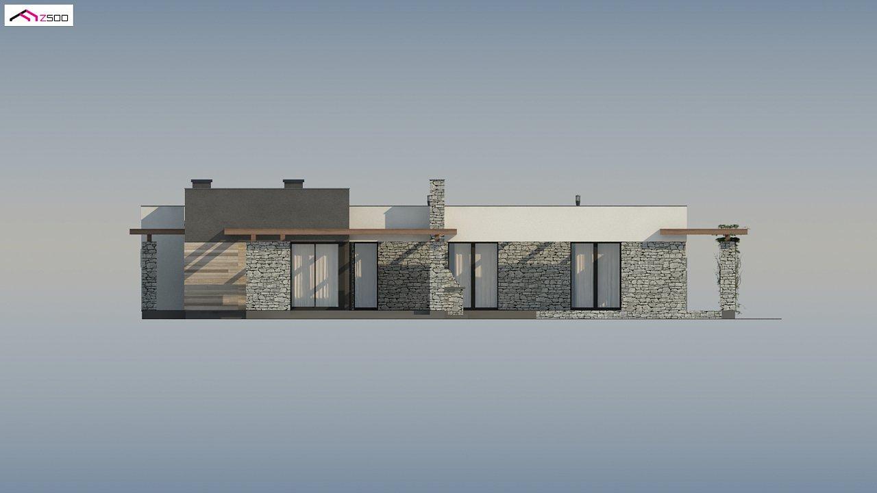 Современный одноэтажный дом с двойным гаражом и плоской крышей 9